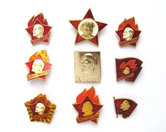 Soviet Badges, Pick from Set, Communism, Lenin, Pioneer, YCL, Vintage collectible badge,  Russian Pin, Soviet Union,  USSR, 70s 80s