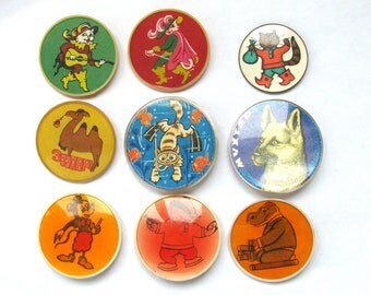 Children's badges, Pick from Set, Tale, Cartoon, Character, Cat, Vintage collectible badge, Soviet Vintage Pin, Soviet Union, Made in USSR