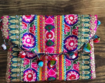 Bohemian Fold Over Clutch