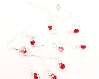 Delicate Swirls Jewellery Set. Swirl Jewellery Set. Necklace & Earring Jewellery Set