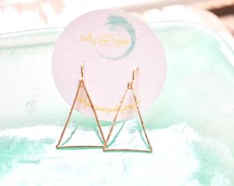 Triangle Earrings Gold, Geometric Earrings, Thin Gold Wire Earrings, Minimalist Earrings