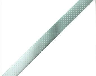 Pale green fancy Ribbon white polka dot
