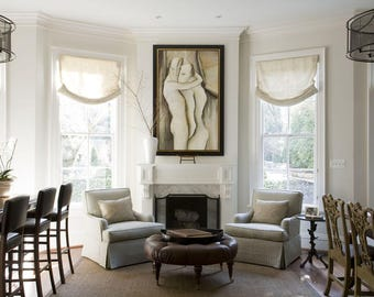 "Relaxed Sheer Roman Shade ""Lucky Ivory"" Beige linen, with chain mechanism, Linen Roman Shades, Window Treatments, Custom Made"