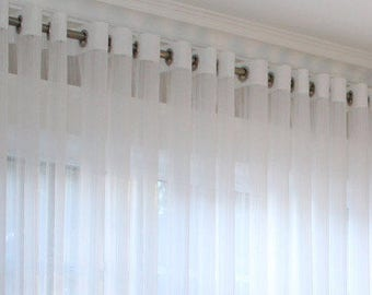 "Grommet Faux Linen Drapery ""Lucky"", Window Sheers, Sheer Curtains, Drapes,  Made-to-Order"