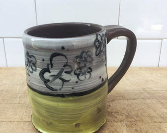 Pottery Coffee Mug, Yellow Flower Print