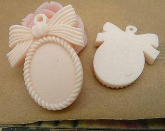 2pcs Resin Cream Oval Cabochon Base With Bow 17.5 x 25mm