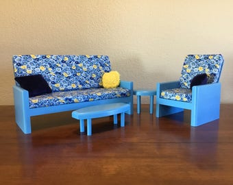 "Blue living room, AG  Doll Furniture, 18 inch Doll Furniture, 18"" living room, AG living room"