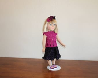 "AG black w/purple sequin skirt, reddish sparkly top, sandals, head decor, undies, AG doll clothes, 18"" doll clothes, 18"" skirt, AG sandals"