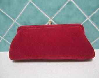 Gorgeous Red Vintage Velvet Clutch Bag - Wedding - 1950's - Evening Bag
