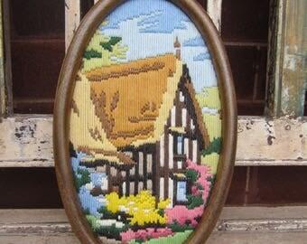 Vintage English Cottage Tapestry - Framed - Flowers - Pink - Oval