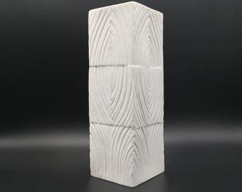 Rosenthal Studio Line  2920 / 22  Op Art Modernist mat white bisque porcelain vase. Designer : Martin Freyer 1960s-1970s  West Germany .