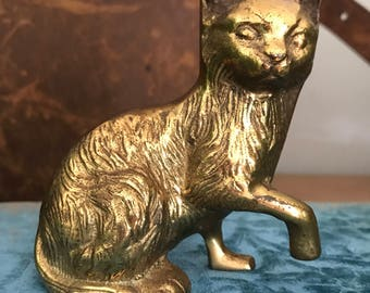 FREE SHIPPING - Vintage Brass Cat