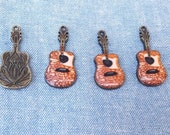 4pcs Adorable GUITAR CHARMS, Brown enamel, 4pieces. Jewelry Making Supplies for my fellow Music Lovers!