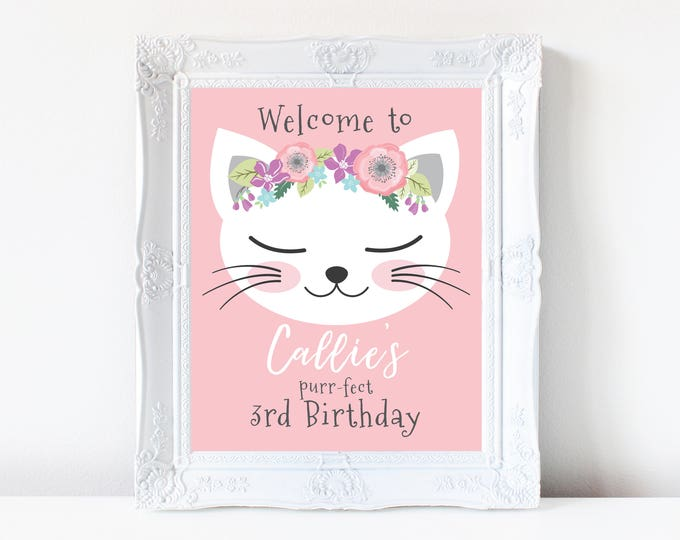 Cat Welcome Sign, Customized Printable DIY, Girl's Birthday Party, 1st Birthday Party, Kitty Party Welcome Sign, Pink Kitty