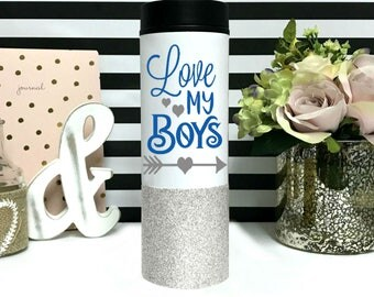 Mom of Boys Mug - Mama of Boys - Mom of all boys Mug- Coffee Mug - Stainless Steel - Glitter Dipped - Travel Mug - Gift for Boy- Mom of Boys