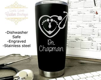 OB Nurse at your Cervix - Dishwasher Safe - Stainless Steel Coffee Tumbler- 20 oz Travel Mug - Labor and Delivery Nurse - Nurse Mugs - Gifts