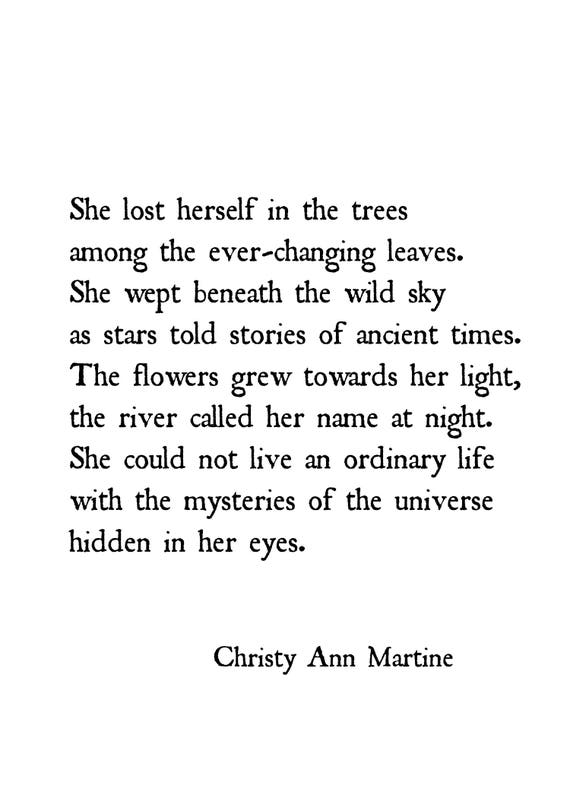 Nature Poetry Prints - Gifts for Women - Home Decor - Sayings and Quotes - Wild Sky Poem She Lost Herself Among the Trees - Christy Martine