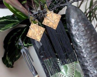 Earrings long fringe and Cork square