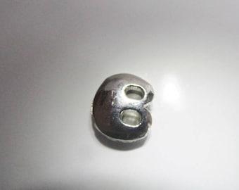 Bead width letter B silver metal