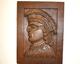 Antique Flemish carving wall panel of a medieval Nobleman solid oak circa.1890