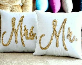 30% OFF sale MR and MRS Pillow Set Cushion  Wedding Anniversary Valentine Love Gift in All Sizes And Color insert Included