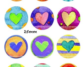 CT198 Watercolor heart 12 Images, drawings, collages, Scrapbooking digital 30/25/20/18/16/15/14/12/10/8 mm cabochon round/square/oval