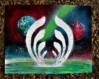 """Bassdrop Into Another Dimension 2018 22""""x28"""" ORIGINAL PAINTING bassnectar"""