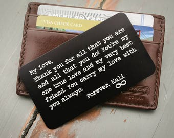 Wallet Card Gift For Him Engraved Valentines Day Anniversary