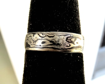 Mokume Gane 14kt White Gold Sterling Silver Blackened Band Ring Mokume-gane 925 585 Raindrop Pattern