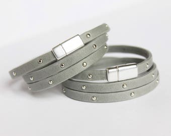 Slim Gray Studded Leather Wrap