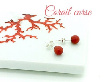 Coral earrings full-bodied red certified genuine from Corsica and sterling silver
