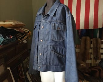1970s Ranch Craft Western Style Denim Jacket - Vintage JCPenney RanchCraft 1960s Style - Men's Small - Women's Medium - Red Quilted Lining