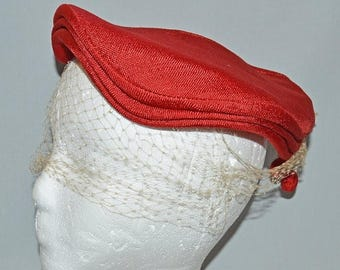 ON SALE: Vintage Pancake Hat - Red Linen with Veil, 1950s
