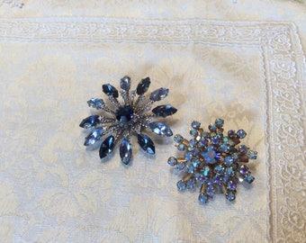 Two (2) Blue Crystal Rhinestone Pin Brooch Silver tone Brooches