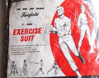 60s Exercise Suit, Sports, Athletic Suit, Two Piece, 1960s, Fairfield Sporting Goods, Size Medium, Unisex, Silver, Kitsch, Camp, Space Suit