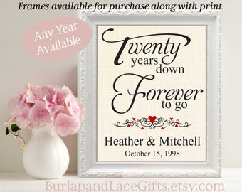 Anniversary Gift to Wife 20th Anniversary 20 Years down Anniversary Gift to Husband Gift for wife Gift for Husband Framed Personalized  (208