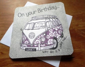 On Your Birthday Campervan - 15cm x 15cm birthday card