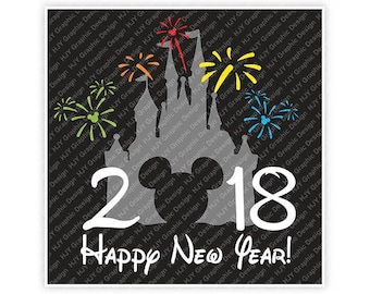 Disney, Happy New Year, 2018, Castle, Fireworks, Mickey, Head, Mouse, Ears, Icon, Digital, Download, TShirt, Cut File, SVG, Iron on,Transfer
