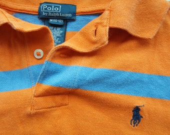 Ralph Laurent POLO shirt Orange striped Vintage POLO Size M 10 - 12, 100% Cotton Made in India striped light blue 2 buttons