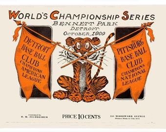 Detroit 1909 World Series Poster - FREE Shipping