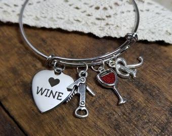 Wine lover gift, Wine charm bracelet Personalized Gift for wine lover, wino gift, wine glass  bracelet, I love wine jewelry, wine charm
