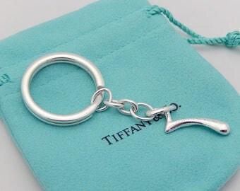 Tiffany & Co Silver Peretti Tear Drop Keychain Keyring