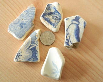 Genuine beach found pottery shards in blue and white