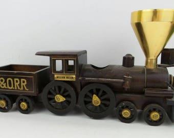 B & O Railroad Wood Train Lighter/Ashtray