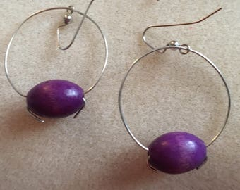 Simple Wire Hoops with Purple Wood Bead