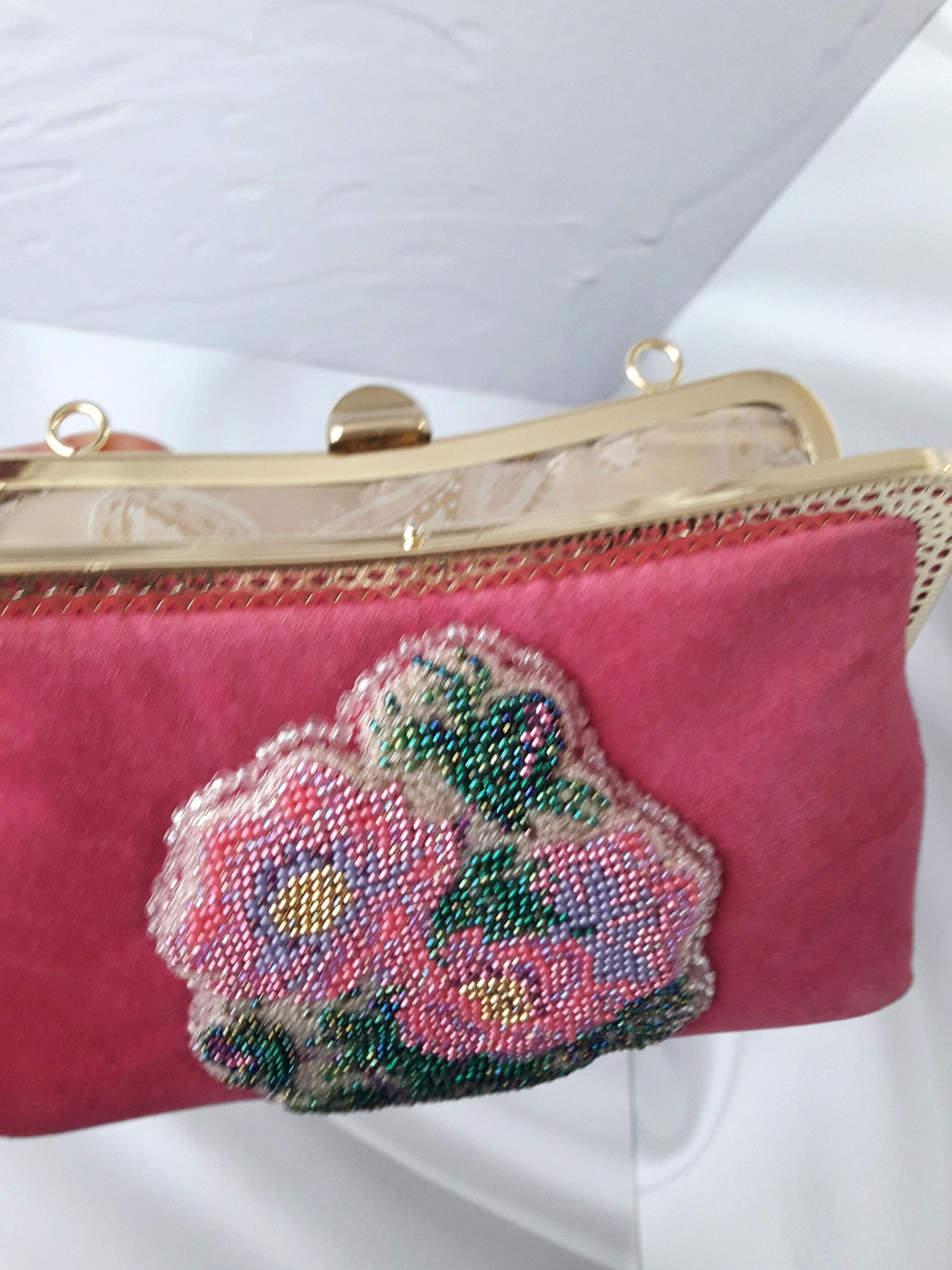Pink Flower Purse Romantic Embroidery Beaded Flower Evening Bag