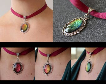 Burgundy thin choker with sparkling holographic chrome shift pendant!Rainbow Duo-chrome, holographic  holo pendant