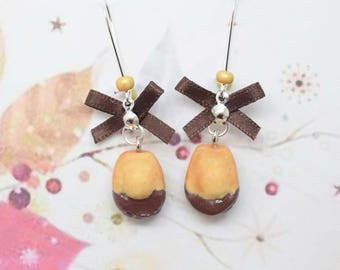 Earrings chocolate madeleine
