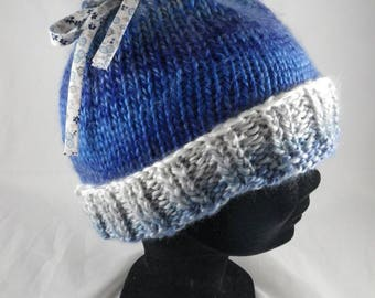 BonnetF006 - Hat Heather blue / grey and Ribbon