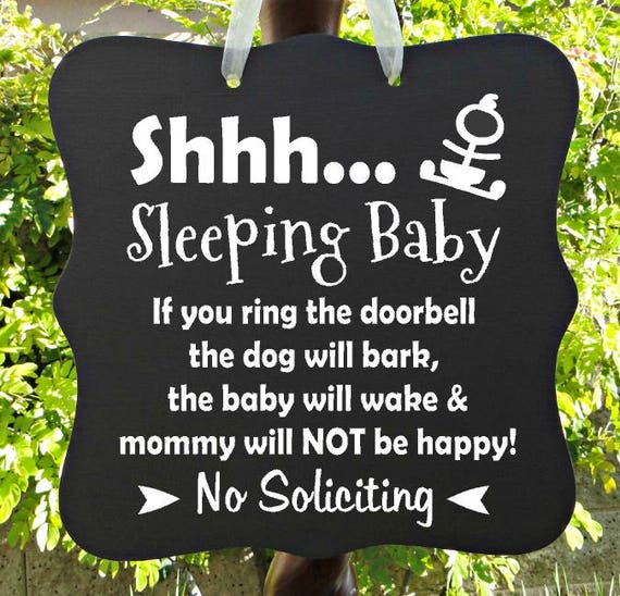 Sleeping Baby Sign, Barking Dog, Do Not Disturb, Mom, No Soliciting, Baby Sleeping Sign, Front Door, Door Hanger